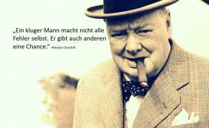 """Zitat: """"Ein kluger Mann macht nicht alle Fehler selbst. Er gibt auch anderen eine Chance."""" – Winston Churchill"""